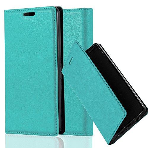 Cadorabo Hülle für Sony Xperia Z1 COMPACT - Hülle in Petrol TÜRKIS - Handyhülle mit Magnetverschluss, Standfunktion & Kartenfach - Case Cover Schutzhülle Etui Tasche Book Klapp Style
