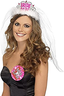 Smiffy's Bride To Be Tiara With Veil With Lettering - Black/Pink (US)