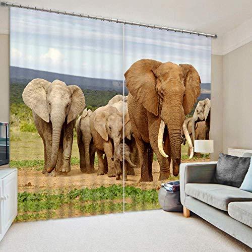 BAIF Cortinas Opacas 3D Personalizadas Habitación para niños Grupo de Elefantes Cortina...