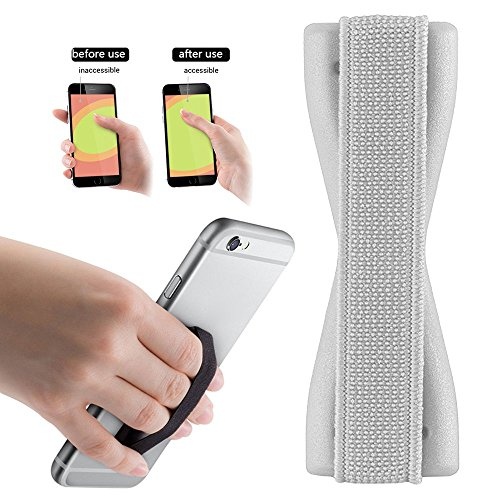 2Ticks Silber Anti-Rutsch-Gummi Tablet Handy Finger Grip-Ring-Halter Selfie Strap Kyocera DuraXV LTE (Kyocera-handy-fällen)