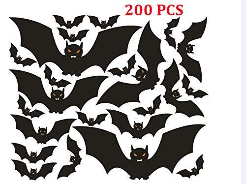 RongDX Halloween Dekorationen 200schwarz PVC schwarz Fledermäuse Fenster Aufkleber Wandtattoo Party Home Wand Aufkleber Fenster Aufkleber Decor Party Supplies Black Bats Sticker