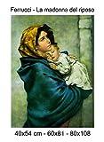 Stampa in Tela Canvas 100% QUALITà ITALIA - Ferrucci - La madonna del riposo effetto Dipinto Idea Regalo Casa quadro cucina stanza da letto soggiorno (60x81)