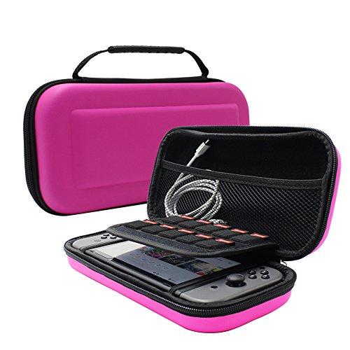Etui pour Nintendo Switch, Keyye Housse Portable Imperméable pour voyage avec coquille de protection dure et Plus grand Espace de stockage pour cartouches de jeu, Switch Console et Accessoires-Rose
