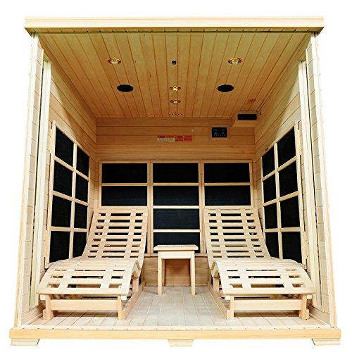 Infrarotkabine / Wärmekabine Billund Flächenstrahler & Hemlockholz | Infrarotsauna mit 2 Relaxliegen für 2 Personen | ArtSauna - 4
