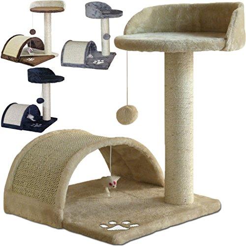 tiragraffi per gatti alto 52 cm. base 40 x 40 cm (il piu' grande online) graffiatoio parco giochi gioco gatto sisal cuccia albero tira graffio palestra - beige