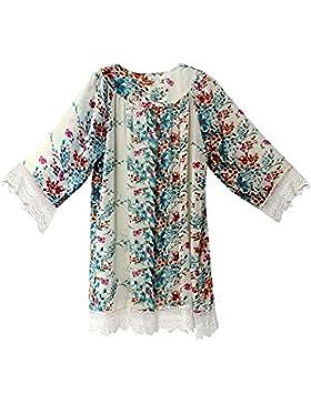 Las Mujeres De Gasa De Encaje Floral Cardigan Ligero Kimono Suelto