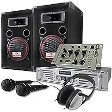 Set DJ PA 1000W Altavoces Amplificador Micro Auriculares