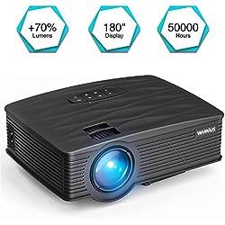 Proyector LCD 2200 Lumens, WiMiUS TK1000 Mini Proyectores Portátil HD Proyector de Cine en Casa Soporte Video 1080P HDMI VGA USB AV SD Negro
