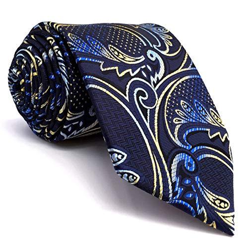 Shlax&Wing Geschäftsanzug Neu Herren Seide Krawatte Blau Gelb Geometrisch Blumen Extra lang -