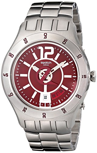 Swatch YTS405G – Reloj analógico de caballero de cuarzo con correa de acero inoxidable plateada