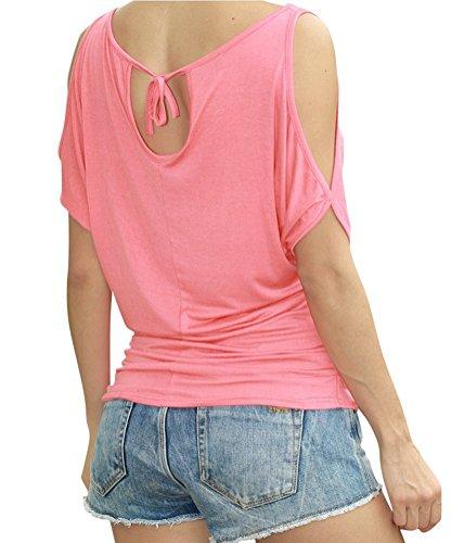 Ghope Damen Schulterfrei Rundhals Bluse Loose Baumwollmischung Sommer T-Shirts Kurze Ärmel Shirt Oberteil Top Pink
