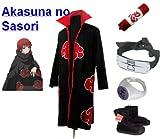 Naruto Akatsuki Sasori Cosplay Kostüm Set (Akatsuki Cloak,Größe:M: Höhe 159cm-168cm + Sasori Stirnband + Sasori Ring + Naruto Federmäppchen + Ninja Schuhe)
