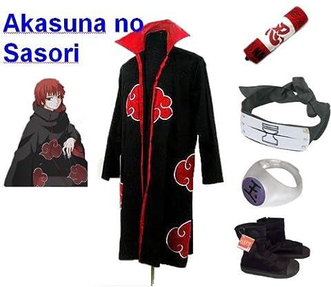 Naruto Akatsuki Sasori Cosplay Kostüm Set (Akatsuki Cloak,Größe:S: Höhe 150cm-158cm + Sasori Stirnband + Sasori Ring + Naruto Federmäppchen + Ninja (Kostüm Express Für Erwachsene)