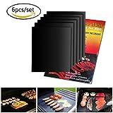 Asdamart-BBQ Grillmatte (6er Set) zum Grillen und Backen|aus Silikon Antihaftbeschichtung für bis 500 ℉ 260℃|Teflon grillmatte|Gas-Kohle-E-Grill und Backofen Grillmatten für gasgrill Holzkohle