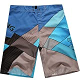 Baymate Herren Badeshorts Multi-Color Surf-Shorts Schnell Trocknend Badehosen Blau 34