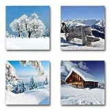 Winter Set B schwebend, 4-teiliges Bilder-Set jedes Teil 29x29cm, Seidenmatte Optik auf Forex, moderne Optik, UV-stabil, wasserfest, Kunstdruck für Büro, Wohnzimmer, XXL Deko Bild