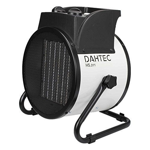 DAHTEC H5.311 Industrieheizer 5-kW, Heizlüfter mit 2 Heizstufen, 1 Ventilator-Stufe, elektrisch, tragbar, 400-V, Bauheizer für Baustelle, Neubau, Industrie, Hallen und Gewerbe