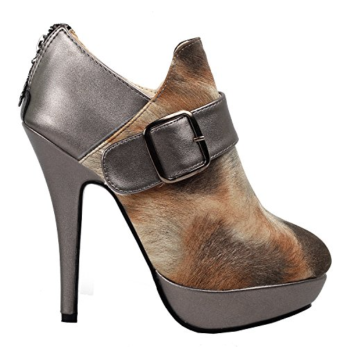 Visualizza storia pelliccia marrone stampa fibbia Zip Piattaforma Stiletto Ankle Boot Bootie, LF30305 Marrone