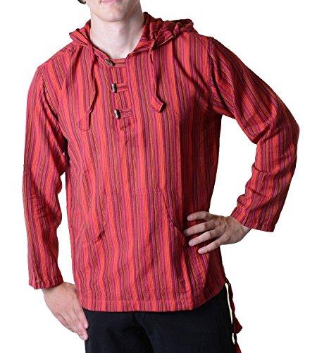 KUNST UND MAGIE Gestreiftes Fischerhemd Kurtha Überzieher Hemd Poncho Mittelalter mit Zipfelkapuze, Größe/Size:XXL;Farbe:Rot