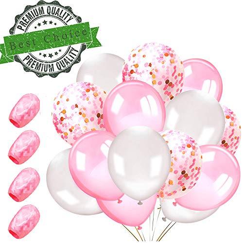 Sunshine smile 54 Stück Luftballons Pink, Ballons,konfetti Luftballons,Luftballons Hochzeit,Latex Glitter Ballons,Heliumluftballons,partyballons,Verdicken 3.2G, 4 Farbe.