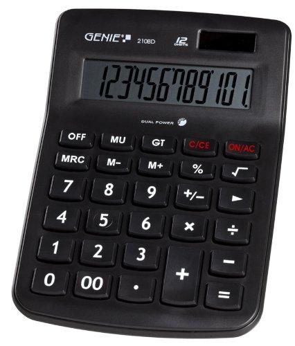 Genie 210 BD 12-stelliger Tischrechner (Dual-Power (Solar und Batterie), Jumbo-Display, klassisches Design) schwarz