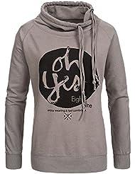 Eight2Nine Damen Sweatshirt mit Schalkragen LETN-009 D1161L01085AENLE middlegrey M