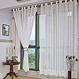 Kinlo 140 x 245cm 100% Polyester Gardinen mit Ösen Traumhaft Vorhänge Blinkschutz ösenvorhang Durchsichtig im Wohnzimmer Weiß