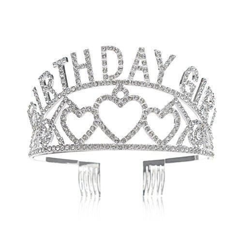 SWEETV Birthday Girl Tiara Kristalle Geburtstags Krone Feier Diadem Schmuck Krone mit Haarkämme für Kinder Mädchen, Silber