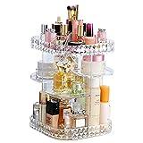 KVASS Schmink Aufbewahrung 360 Grad Drehbarer Beauty-Organizer mit Einstellbarer Lippenstift Pinsel Nagellack Kosmetikbox für Schlafzimmer, Badezimmer transparent (M Größe)