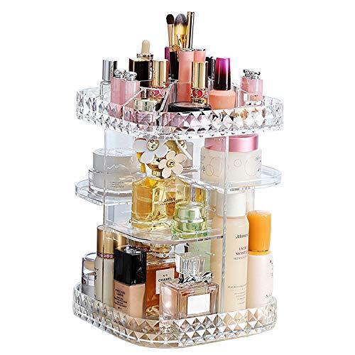 Schlafzimmer Organizer (KVASS Schmink Aufbewahrung 360 Grad Drehbarer Beauty-Organizer mit Einstellbarer Lippenstift Pinsel Nagellack Kosmetikbox für Schlafzimmer, Badezimmer transparent)