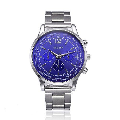 Juliyues Herren Uhren Rostfreier Stahl Band Uhr Sport Analog Quartz Kleid Uhr Herren Fashion Business Edelstahl Armbanduhr-Armband -