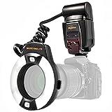i-TTL Makro Ringblitz (Leitzahl 14-46) fuer alle Nikon DSLR Kameras mit Blitzschuh (fuer Objektive...