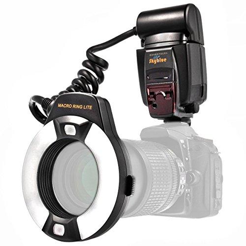 i-TTL Makro Ringblitz (Leitzahl 14-46) fuer alle Nikon DSLR Kameras mit Blitzschuh (fuer Objektive von 52mm – 77mm) - Meike MK-14EXT