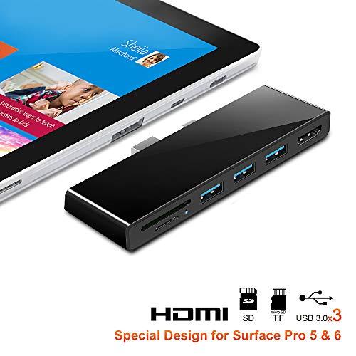 Rocketek Surface Pro 5/6 USB-Hub-Dockingstation mit 4K HDMI, High Speed 3 USB 3.0-Anschlüssen, SD (HC) -Kartensteckplatz und TF-Kartenleser für Microsoft Surface Pro 5/6