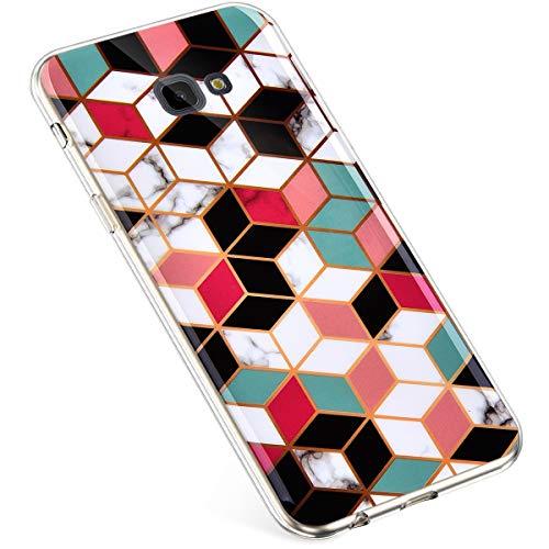 Uposao Kompatibel mit Samsung Galaxy J4 Plus 2018 Handytasche Marmor Muster TPU Silikonhülle Kratzfest Durchsichtige Schutzhülle Dünn Transparent Case Handyhülle Crystal Silikon Bumper Cover, Cube - Muster Für Cubes