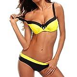 Bikini Mujer Push-up con relleno Grueso con Acero Acolchado Bra Trajes de baño dos Piezas Color Vario con Talla Grande Amarillo Medium