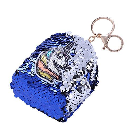 Freebily DIY Geldböse für Kinder Mädchen Einhorn Glitzer Pailletten Geldbeutel Mini Wallett Pouch Case mit Schlüsselanhänger Blau One Size (Sachen, Die Eine Dollar)