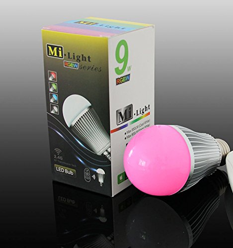 1x WLAN LED Lampe original MILIGHT® Color RGB + Warm Weiß, 9W, E27, dimmbar Glühbirne
