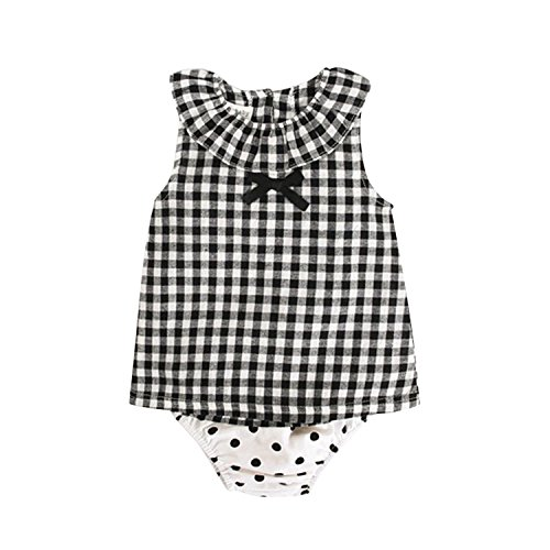 YASSON 2 Pcs Baby Mädchen Bekleidungsset Sommer Ärmellos Rüschen Rundhals Karo Bowknot Polka Dot Unterwäsche Windeln Babykleidung Outfit