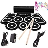 BDFA Tragbares Roll Up Drum Kit 9 Pads MIDI Elektronisches Roll Up Drum Kit Eingebaute Lautsprecher & Fußpedale & Drum Sticks Für Kinder, Anfänger, Erwachsene