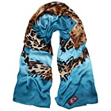 TONY & CANDICE Women's 100% Silk Scarves Luxurious Leopard Print Oblong Wrap Scarf Shawl, 72.8 * 26.7 Inch
