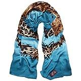 TONY & CANDICE Women's 100% Silk Scarves Luxurious Leopard Print Oblong Wrap Scarf Shawl, 72.8 * 26.7 Inch