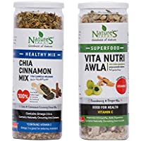 Nature's Treat by Chandan Mukhwas Superfood and Healthy Mouth Freshener Combo, Chia Cinnamon Mix 177 gm and Vita Nutri Awla 199 gm (Combo of 2)