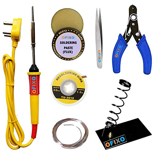 OFIXO 7 In 1 Electric Soldering kit with 25W Iron & Stand Tool,Wire Cutter Stripper,Tweezer,Desoldering Wire,Soldering Paste and Solder lead