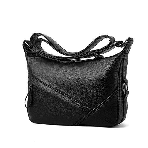 ZPFME Womens Tote Handtasche Weich Lässig Umhängetasche Shopper Leder Party Retro Bankett Verstellbar A
