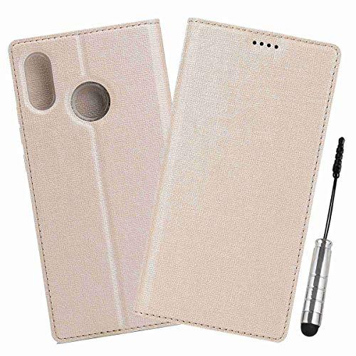 Guran® Funda de Cuero PU para Xiaomi Mi Mix 2S Smartphone Flip Case Construido en TPU con Función de Soporte con Ranura para Tarjetas Estilo de Retro Cover - (Oro)