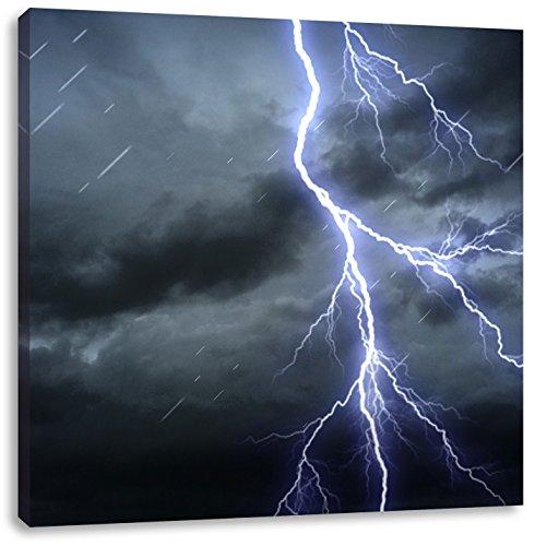 Pixxprint Gefährlicher Blitz am Gewitterhimmel, Format: 60x60 auf Leinwand (Und Halloween-donner Blitz)