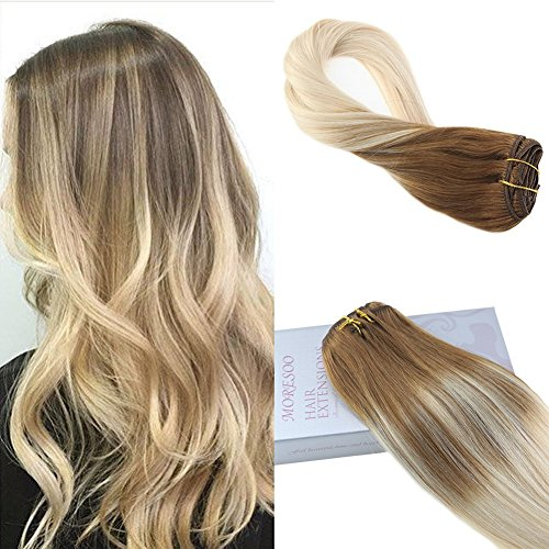 Moresoo 18 Zoll Menschliches Haar Extensions Clip on Hair Balayage Hair Color Clip in Menschliches Haar Extensions #6 Brown Ombre to #60 Blonde Balayage Color Menschliches Haar Exensions Clip in 7PCS 120G Double Weft