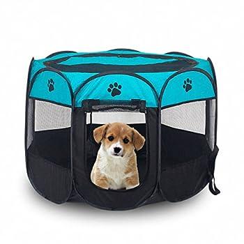 MiLuck Pet Portable Foldable Playpen, Exercice 8-Panneau Kennel Mesh Shade Cover Intérieur / extérieur Tente Clôture Pour Chiens Chats(S-Bleu)