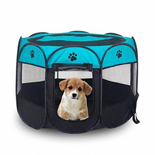 Portable Pet Laufstall, Hund Welpen Laufstall mit 8-Panel Kennel Mesh Schatten Abdeckung Wasserdichtes Gewebe Indoor/Outdoor Pet Zelt Zaun für Hunde und Katzen (L/Blue) -